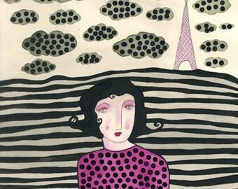 La Vie en Rose- Paris, Eiffel Tower, Paris Dreamscape, France, French Print, Eiffel Tower Print, Pink and Gray