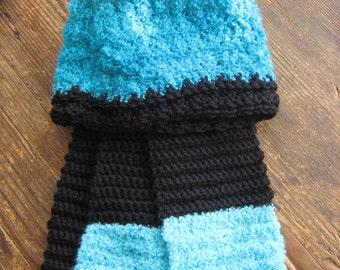 matching crochet scarf and hat black and aqua