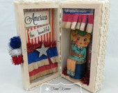 Patriotic Shabby white 4th of July Decoration Diorama box AMERICA the Beautiful