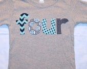 Boys FOUR shirt for 4th Birthday  - Size 4 long sleeve heather gray shirt - lettering in navy blue and aqua chevron and polkadot