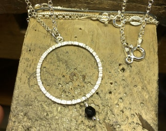 Rain Circle Sterling Silver Pendant with Black Czech Crystal