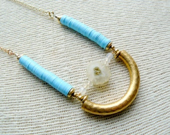 Solar Beam Boho Pendant Necklace- Turquoise