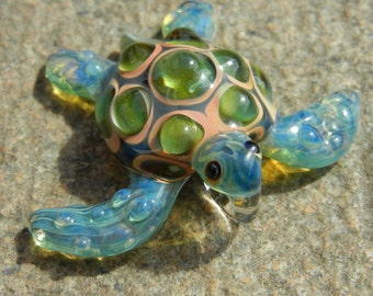 Lampwork Boro Glass Pendant - Focal Bead - SEA TURTLE green aquamarine