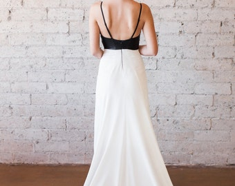 SAMPLE SALE  Color Block Black Leather Deep V Silk Wedding Gown with Train - Thirteen by Cleo and Clementine
