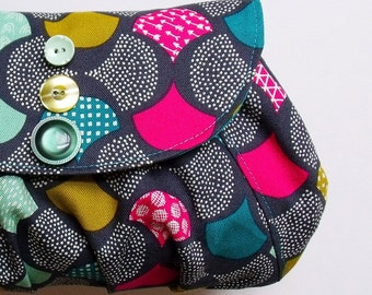 Clutch purse in grey, teal, magenta and mustard - small