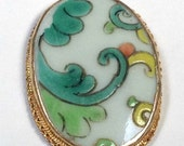 ANTIQUE Chinese SHARD Porcelain Pendant Qing Dynasty White Green Floral pt288