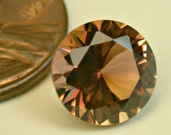 VINTAGE TOURMALINE Brownish Pink Mozambique Faceted Gemstone Round 3.73cts fg185