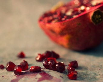 Pomegranate Print, Food Photography, Kitchen Art,  Still Life Photography,  Rustic Wall  Decor