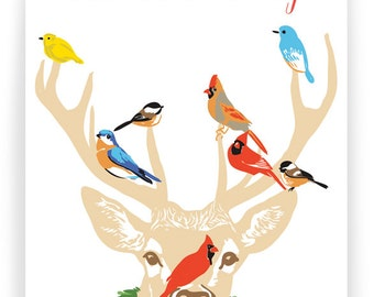 Season's Greetings Stag and Birds - Box of 8 cards