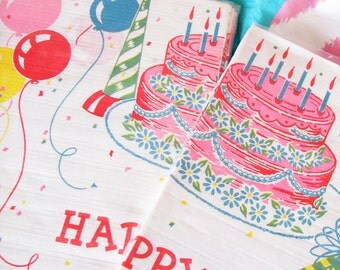 Happy Day...3 Colorful Vintage Birthday Tablecloths...New Old Stock