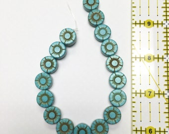 Large Turquoise Flower Bead Strand