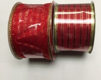 """Christmas Wired Edge Ribbon 2 1/2"""" Wide - Red Gold Edge - 20 yards"""