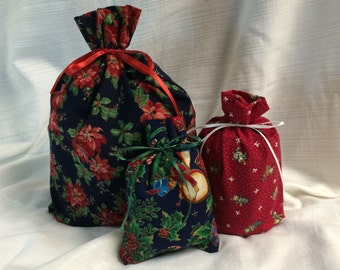 Christmas Gift Bags - 3 -  Reusable Eco-Friendly Cotton Fabric