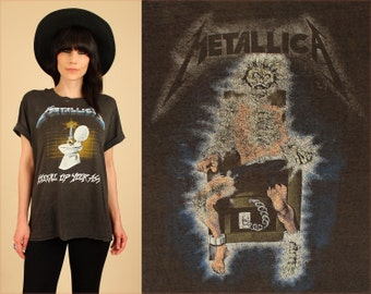 ViNtAgE 80's Metallica Metal Up Your Ass Thrashed Threadbare Paper Thin Original 1980s Tour T-Shirt Heavy Metal Rock and Roll Thrash Concert