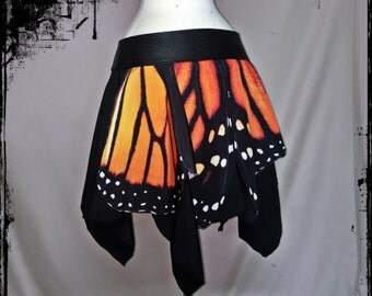 Monarch Butterfly Wing Mini Over Skirt Belt, Size Medium to Large - Ready to Ship - Festival Boho Wicca Hippie  Dance Party Costume  Faery