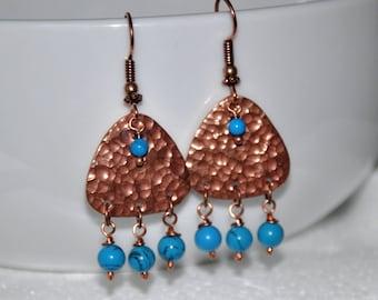 Drop Earrings,  Turquoise Earrings, Handmade Copper Jewelry,  Copper Earrings, Dangle Earrings,  Wire Wrapped,  Fashion Jewelry