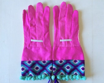 designer garden gloves as seen in better homes and gardens diy magazine and mother earth living magazine tribal tie dye pom poms