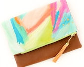 Abstract Art Tassel Clutch in OOAK Handpainted Canvas and Tan Vegan Leather and Lime Green and Gold zipper close