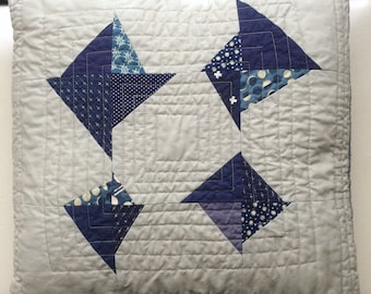 """Indigo and Gray Broken Kite Quilted Pillow Cover 16"""""""