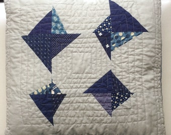 Indigo and Gray Broken Kite Quilted Pillow Cover 16""