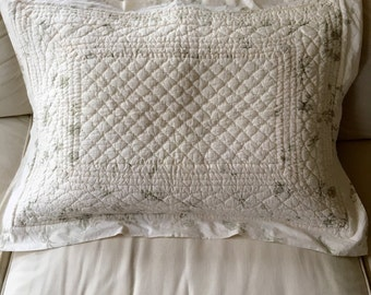 Vintage Quilted Pillow Sham, Creamy White with Sage Green Flowers