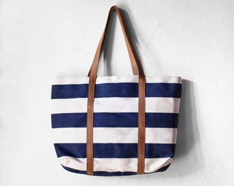 Navy White Striped bag, Striped nautical tote, Sailor bag, Beach Bag, Nautical Tote, Canvas Leather Bag, Summer Bag, Canvas Bag, Canvas Tote