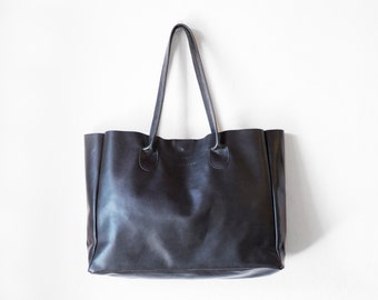 Black Leather Shopper, Nappa Leather Tote, Shoulder Bag, Black Leather Bag, Leather Bag, Leather Handbag, Raw Edged Shopper, Black Tote