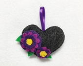 Heart Ornament, Flower Ornament, Christmas Ornament, Purple Petals, Anniversary Gift, Wedding Decoration, Nature Lovers