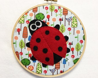 Ladybug Wall Art, Embroidery hoop Art, Fabric Wall Art, Lars the Ladybug, Nursery Decoration, Felt Animal, Gift under 20