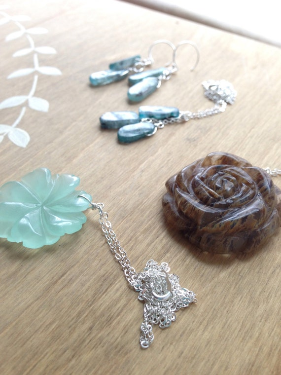 RESERVED Custom Order - Blue Kyanite Earrings and Necklace Set, Coffee Quartz Rose Necklace, Green Amazonite Quartz Flower Pendant Necklace