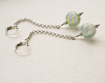 Sterling Silver Dangle Earrings Vintage Blue Yellow Swirl Glass Beads 1950s