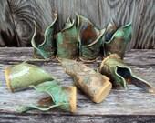 Handmade stoneware pottery candle holder, bathroom accessory, sponge holder, planter, pencils, container, floral, flowers, bud vase, kitchen