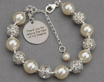 Thank You for Raising the Man of My Dreams, Mother of the Groom Gift, Mother of the Groom Bracelet, Mother in Law Gift, Romantic Wedding
