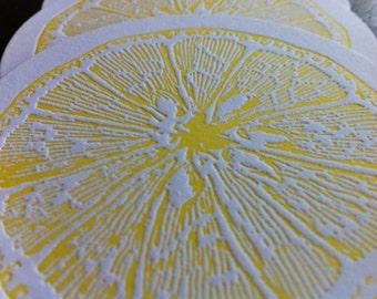 LEMON yellow letterpress coasters - Set of 10
