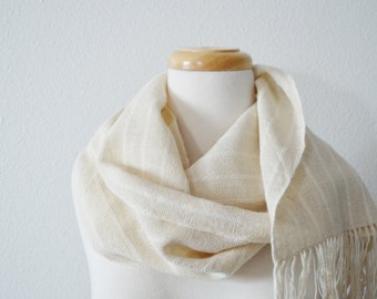 Organic Scarf Handwoven with Fringe in Cotton & Hemp - Boho Scarf for All Seasons in Natural Eggshell White
