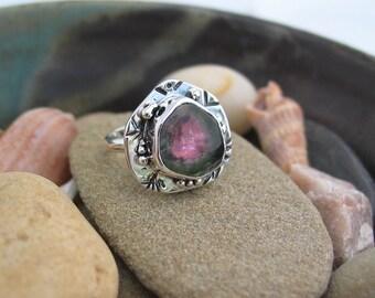 Watermelon Tourmaline Ring, Engagement, Artisan Jewelry, Watermelon Tourmaline Slice, Sterling Silver Ring Size 7