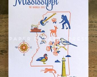 Mississippi State Letterpress Print 8x10