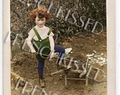 Gardener Boy with Wheelbarrow Antique Customized French Photo Postcard Printable Digital