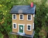Folk Art Rustic Country Primitive Saltbox Home Decor Garden Honey Mustard Birdhouse