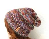 Knit Slouchy Striped Wool Hat - Creek