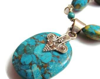 Turquoise Necklace - Blue Turquoise Beaded Necklace Set - Gemstone Jewelry
