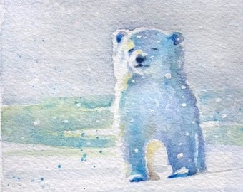 Polar bear cub in the snow original watercolor painting