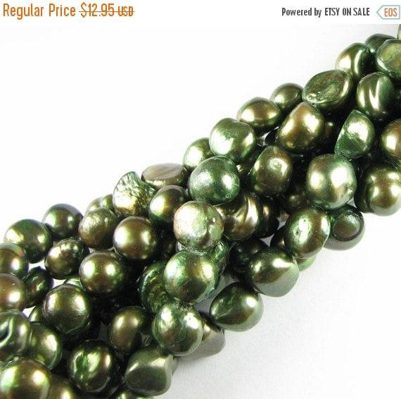 ON SALE Luxe Deep Metallic Green Large 11mm Irregular Potato Freshwater Pearls Full Strand