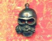 Large Cast Brass Skull With Rose In Teeth, Brass Ox, Memento Mori, 1980s Heavy Bead Pendant (1)