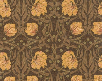 Best of Morris - Moda Fabric - Half Yard - Floral Reproduction Pimpernel Brown Quilting Fabric Barbara Brackman Moda William Morris 814726