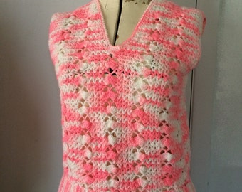 Crocheted Vest Hot Pink and White 70's Handmade Small