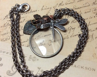 Steampunk handmade dragonfly Optical lens necklace