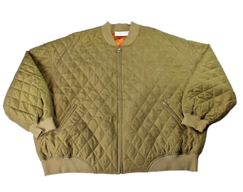 Vintage 1990s 90s Olive Green Silk Bomber Jacket Mens Retro Streetwear Size 3XL XXXL