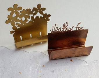 Handmade copper Personalised Business Card holder, business card display