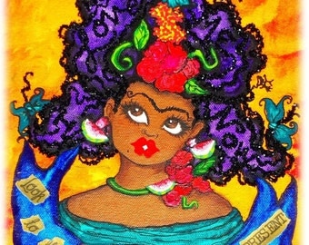 Prints:5x7 Frida Look to the Future~Be In the Present  I Love Me Now  Affirmation  by karin turner KarinsArt  watermelon  african american